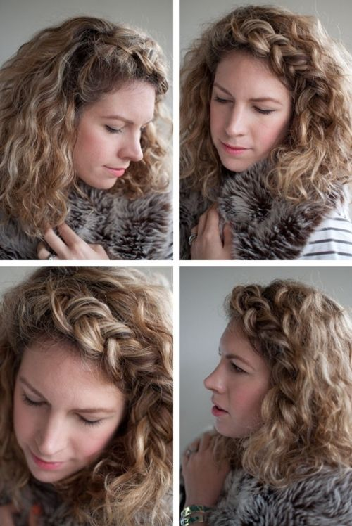 Sexy Curly Hairstyle with Braid