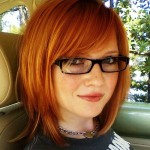 Short Red Bob Hair with Side Swept Bangs for Thick Hair