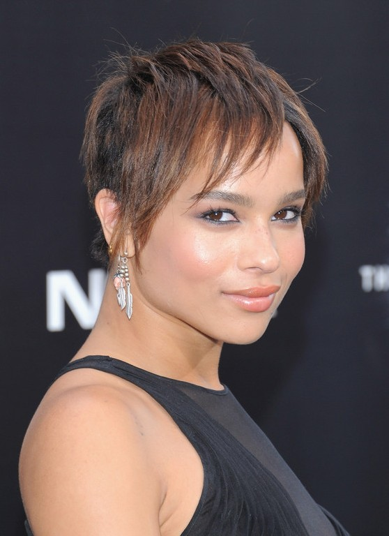 Zoe Kravitz Simple Easy Layered Haircut for Short Hair