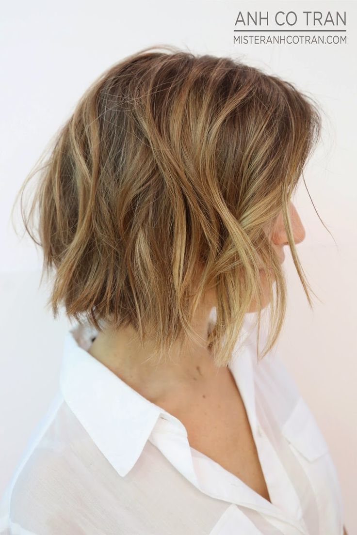side view of layered short bob haircuts