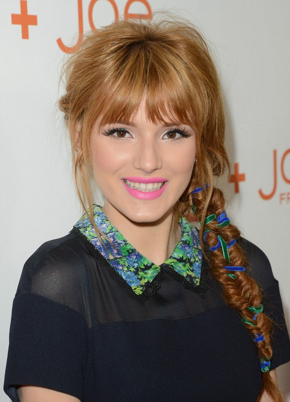 Bella Thorne Stylish Long Braid with Wispy Bangs for Winter