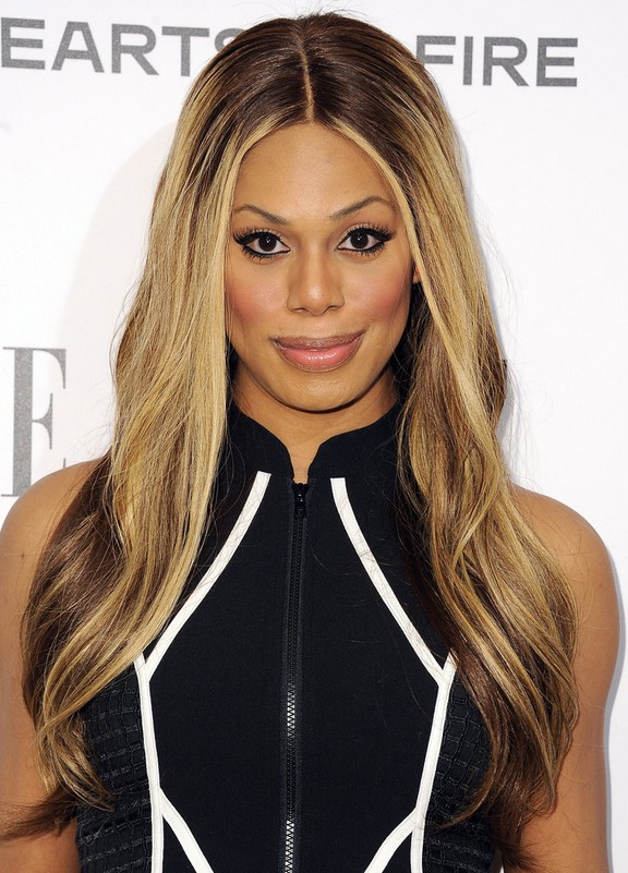 Laverne Cox Center Part Long Ombre Hair Style with Subtle Waves for Winter