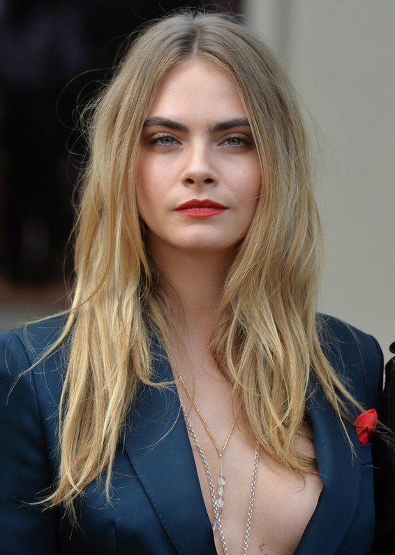 Cara Delevingne Long Center Part Hairstyle