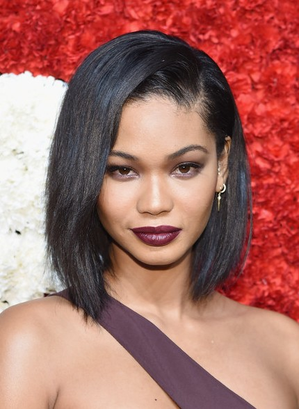 Chanel Iman Asymmetrical Bob Haircut for Black Women