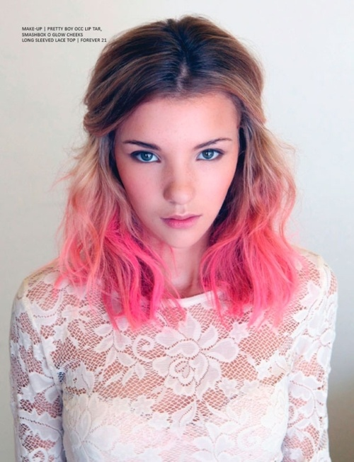 Cool brunette to pink ombre hair for shoulder length hair