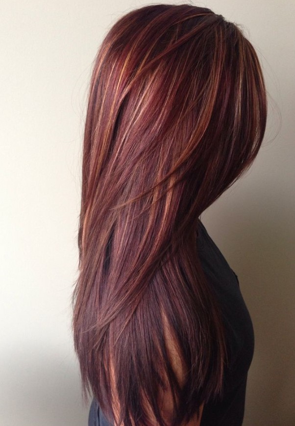 Dark red rich hair color with caramel highlights40 Latest Hottest Hair Colour Ideas for Women   Hair Color Trends 2018. Hair Colour Ideas For Long Hair 2015. Home Design Ideas