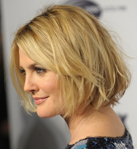 Drew Barrymore short messy Bob hairstyle
