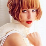 Juju Ivanyuk short bob hair style with blunt bangs