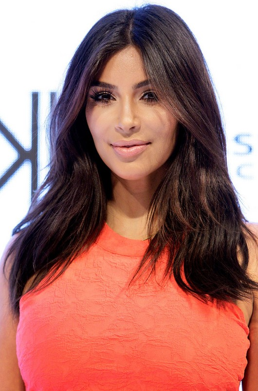 Kim Kardashian Long Center Part Hairstyle