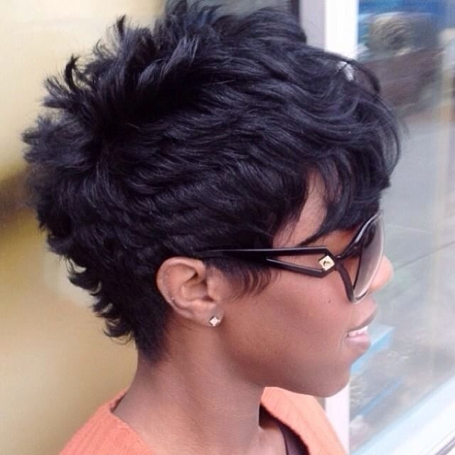 Layered Short Boyish Haircut for African American Women