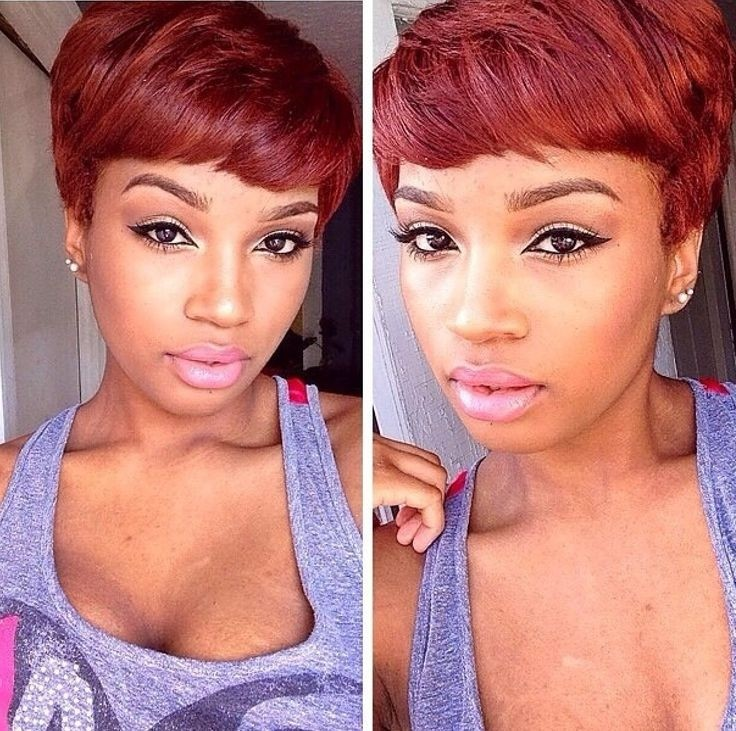 Layered Short Red Hairstyle for Black Women