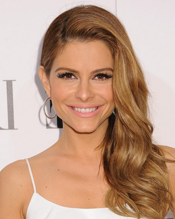 Maria Menounos Long Blonde Side Hairstyle for Thick Hair