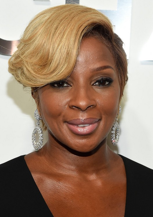 Mary J. Blige Short Hairstyle with bangs for Black Women