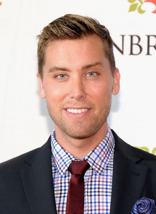 Men's Short Side Part Hairstyle for Wedding from Lance Bass