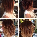 Ombre Hairstyle with waves for mid length hair