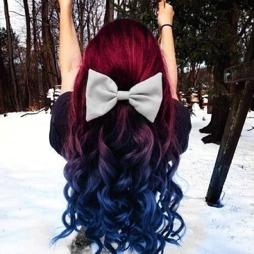 Red to Blue Ombre Curly Hairstyle for Winter