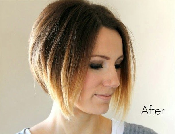 Short Ombre Angled Bob Haircut