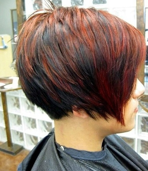 Short Red Black Bob Cut