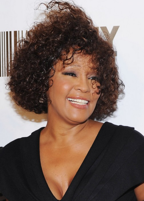 Whitney Houston Short Curly Hairstyle for Black Women