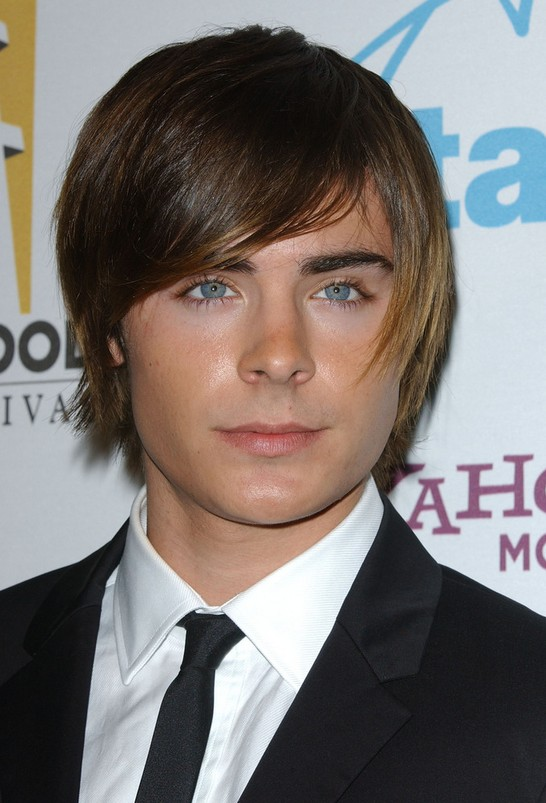 Zac Efron Moptop Hairstyle with Side Swept Bangs for Men