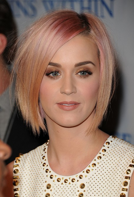 Katy Perry Short Hairstyles - Pink and apricot blonde bob