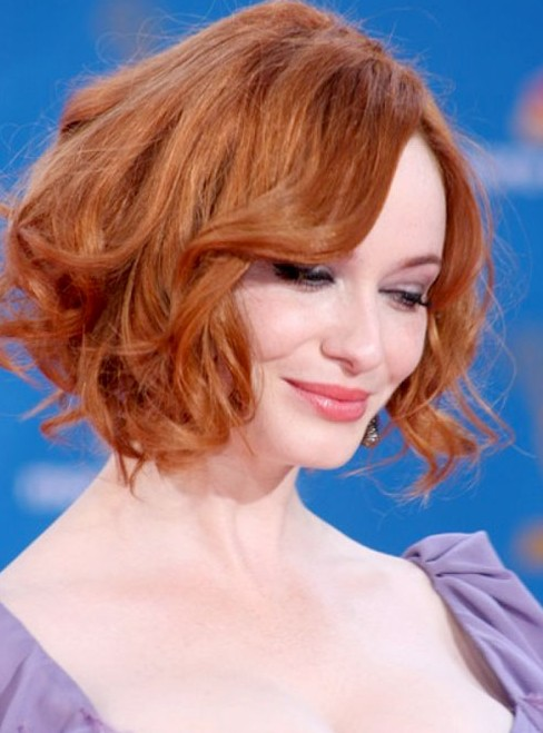 Admirable Christina Hendricks Soft Red Curly Hairstyle For Short Hair Schematic Wiring Diagrams Amerangerunnerswayorg