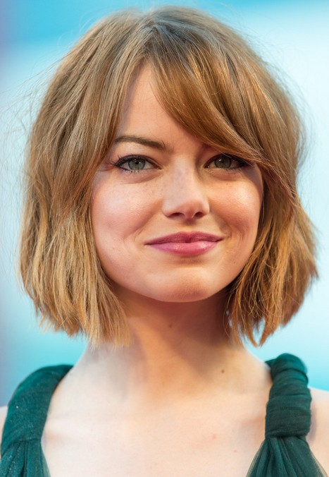 Emma Stone Short Bob Haircut with Bangs for Thick Hair
