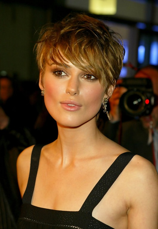 Keira Knightley Sexy Messy Short Straight Haircut with Bangs