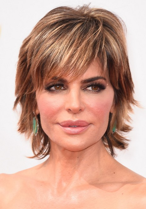 Lisa Rinna Layered Razor Cut with Bangs for Thick Hair