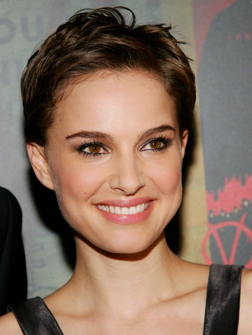 Natalie Portman Chic Messy Short Pixie Cut for Women
