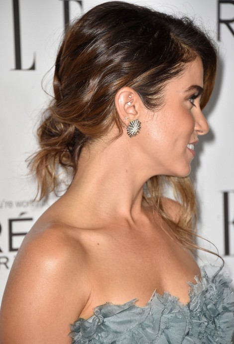 Nikki Reed Messy Loose Updo for Thick Hair