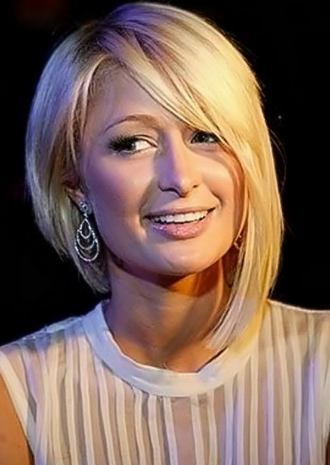 Paris Hilton Asymmetrical Bob Hairstyle with Bangs