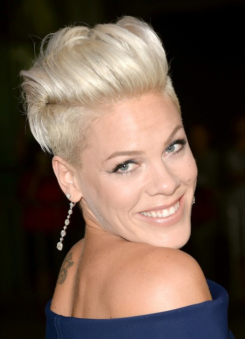 Pink Short Fauxhawk Haircut for Women