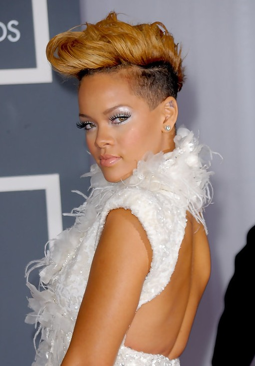 Rihanna Cool Stylish Short Fauxhawk Haircut for Women