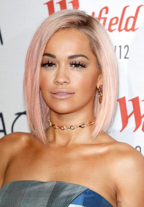 Rita Ora Short Pink Asymmetrical Bob Cut