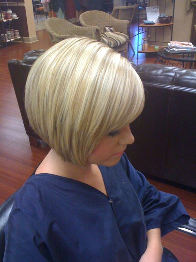Blonde Stacked Bob Haircut with Bangs