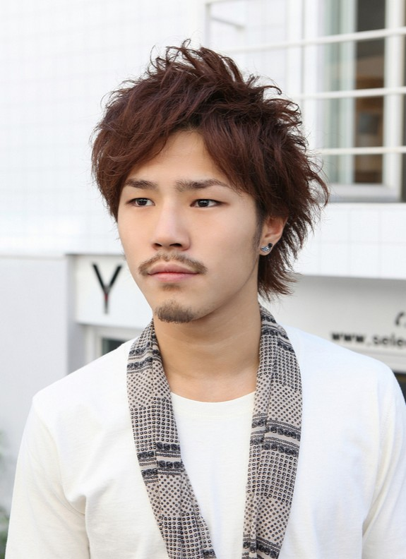 Cool Asian Guys Red Messy Haircut with Layers