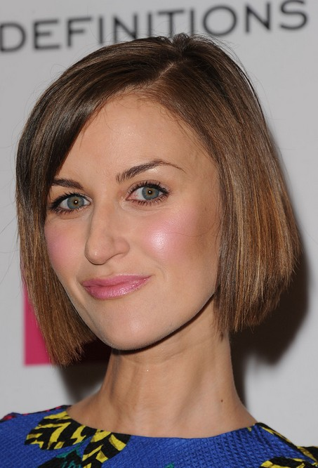 Katherine Kelly short haircut: straight bob cut with side swept bangs