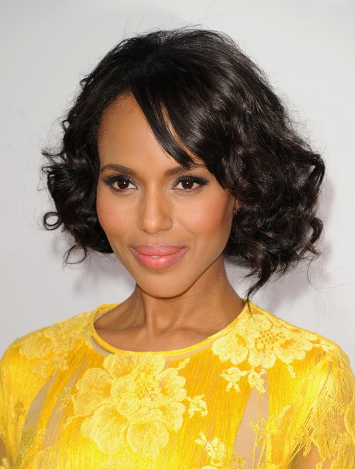 Kerry Washington soft curly bob hairstyle for black women