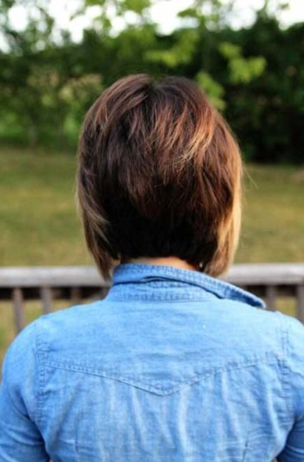 Back View Of Sexy Graduated Red Bob Haircut For Women