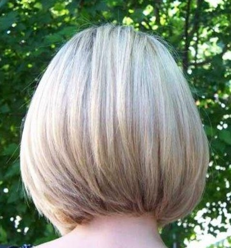 Back View Of Layered Short Graduated Bob Haircut