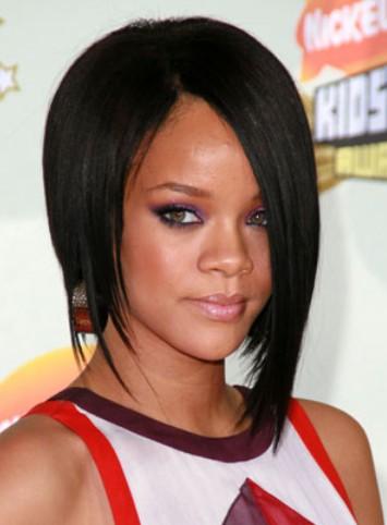 Rihanna Short Black Asymmetric Bob Haircut For Black Women