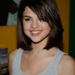 Selena Gomez short straight bob haircut with side swept bangs for teenagers