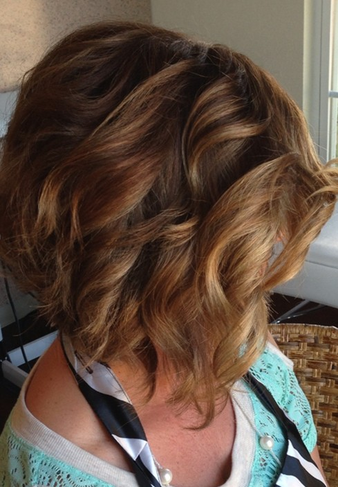 Stacked Wavy Curly Bob Hairstyles for Short Hair