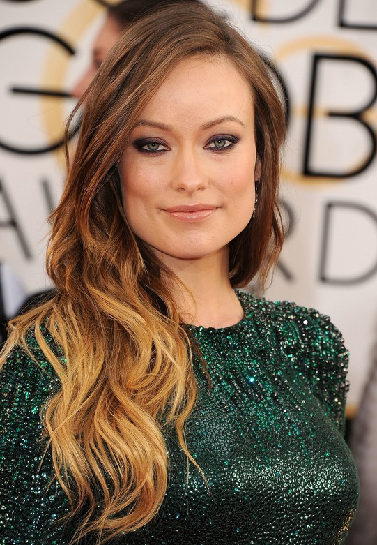 Celebrity Olivia Wilde Long Ombre Wavy Hairstyle for Women