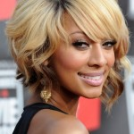 Keri Hilson soft wavy bob hairstyle with side swept bangs for black women