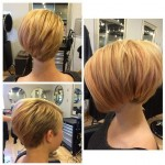 Precision blonde bob with long layers