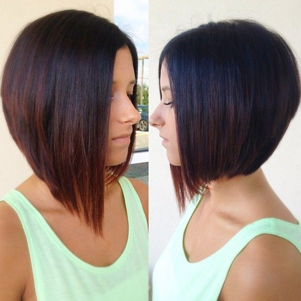 Side View Of A Line Bob Hairstyle