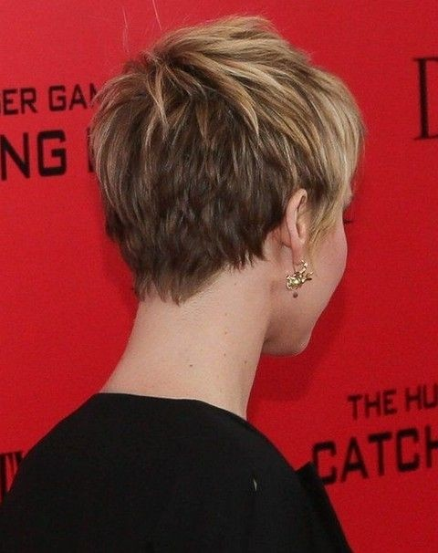 Back View Of Short Layered Pixie Cut