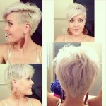 Different view of Platinum Blonde Shaggy Haircut with Long Side Swept Bangs